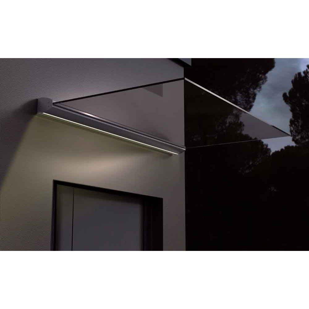 Copertină Milano cu iluminare LED, lungime braț de 0.9m, sticla securit 4+4mm