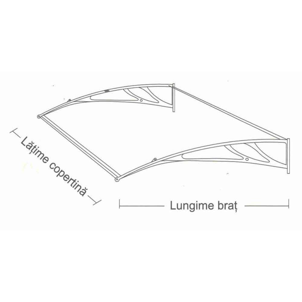 Extensie copertină Rimini, braț aluminiu de 1.5m, policarbonat solid 4mm, diferite lățimi și culori