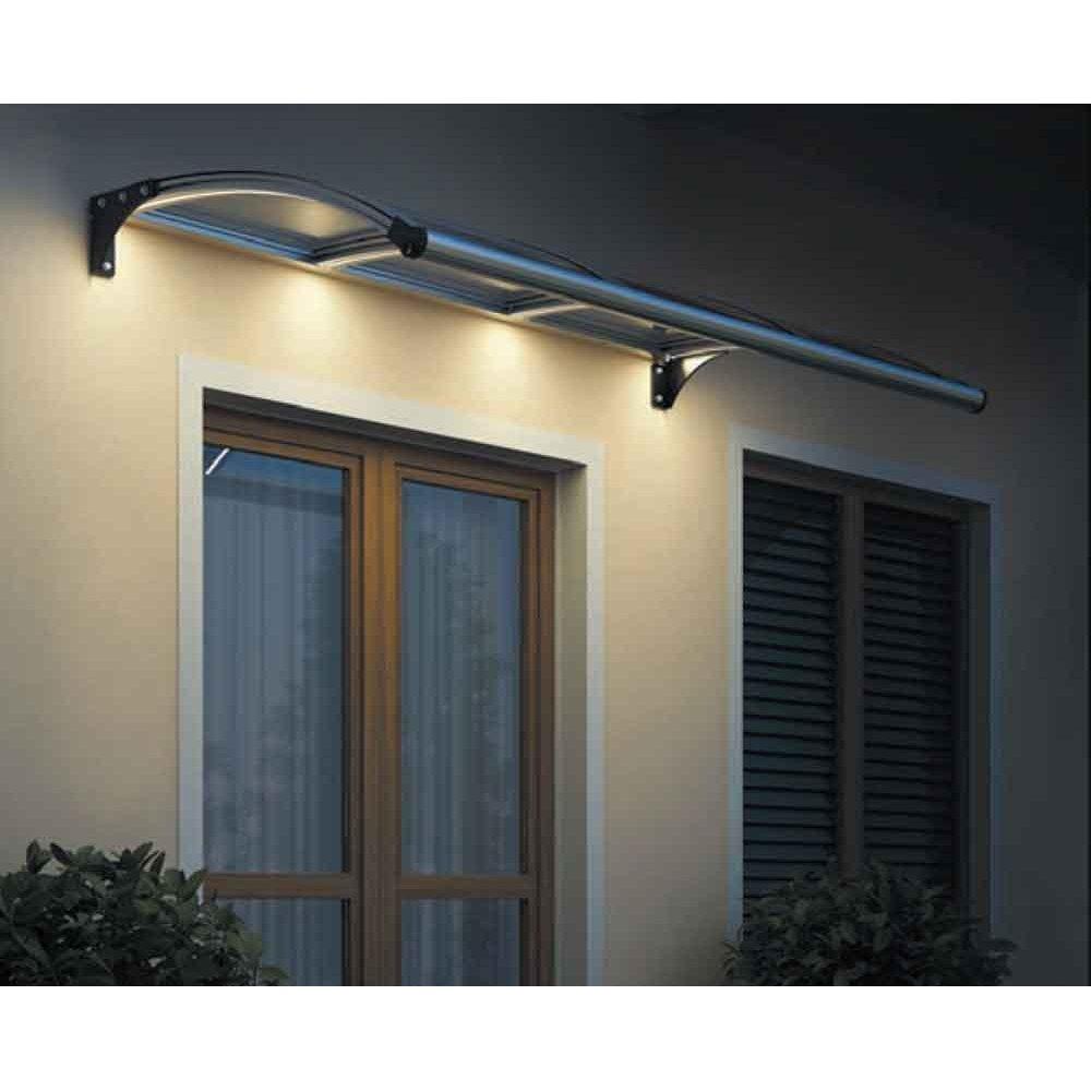 Copertină Roma cu iluminare LED, braț aluminiu de 1m, policarbonat solid 4mm, diferite lățimi de copertină și culori