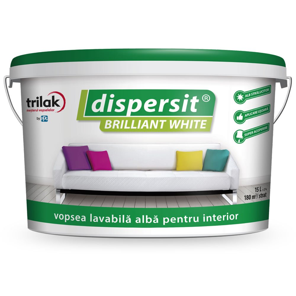 Dispersit Brilliant White vopsea lavabilă pentru interior 15l alb