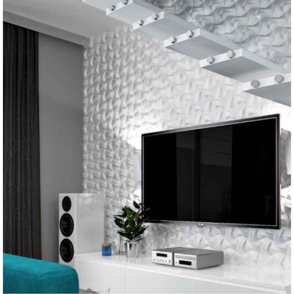 Panou decorativ 3D din polistiren pentru perete sau tavan, 60cm x 60cm, grosime 3cm, model BOW