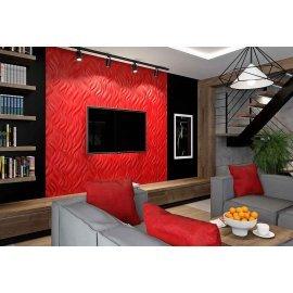 Panou decorativ 3D din polistiren pentru perete sau tavan, 60cm x 60cm, grosime 3cm, model FLAMES