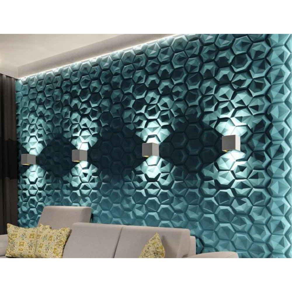Panou decorativ 3D din polistiren pentru perete sau tavan, 60cm x 60cm, grosime 3cm, model HEXAGON