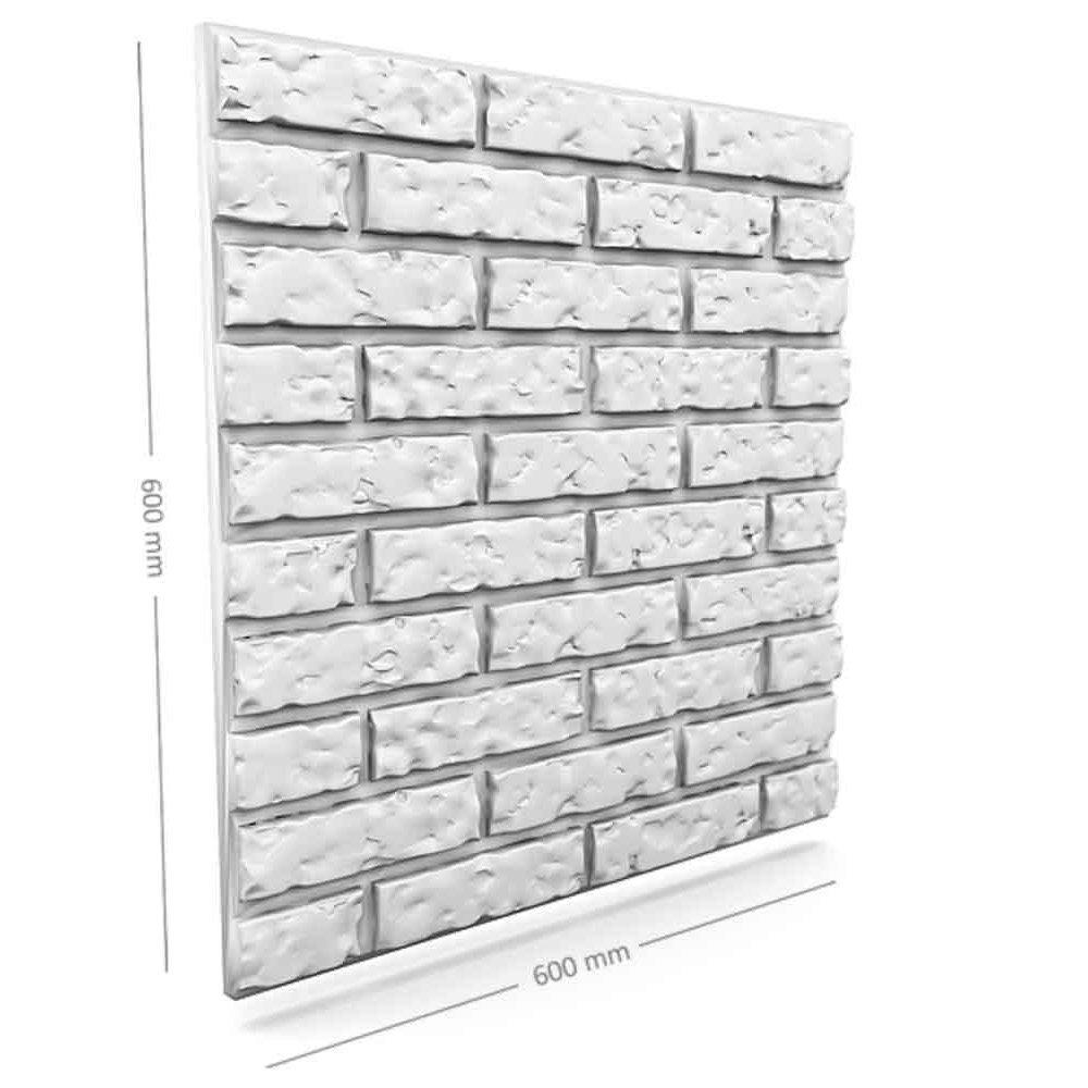 Panou decorativ 3D din polistiren pentru perete sau tavan, 60cm x 60cm, grosime 3cm, model OLD BRICK