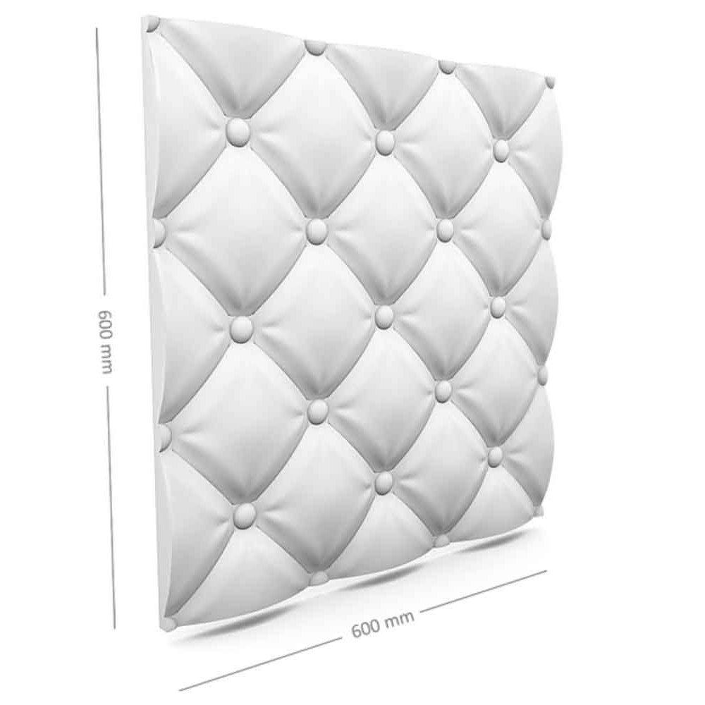 Panou decorativ 3D din polistiren pentru perete sau tavan, 60cm x 60cm, grosime 3cm, model PILLOW